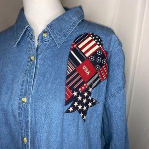 Americana Vintage Denim Button Down Shirt
